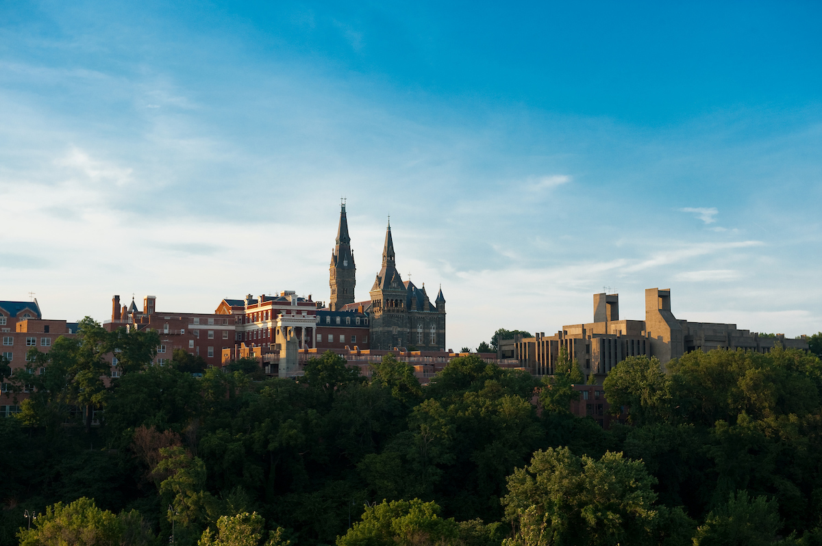 image of Georgetown's campus on a hill